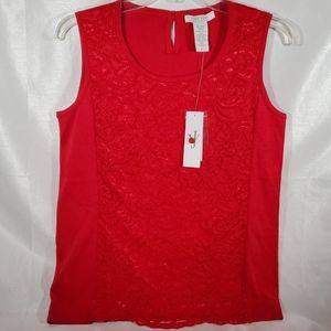 JOAN VAAS RED FRONT LACE TANK